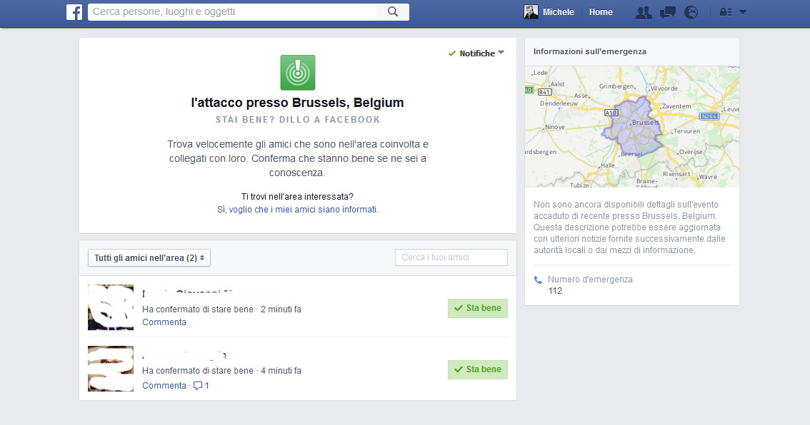 "I Social Network nelle emergenze, ""Facebook Safety Check"""